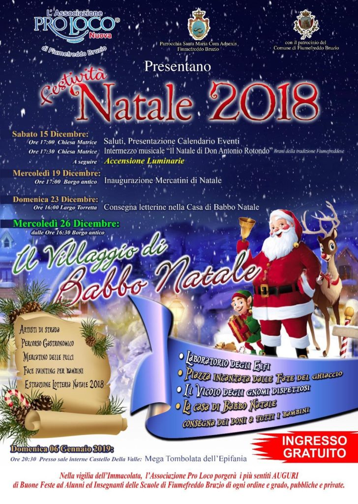 Casa Babbo Natale 2019.Fiumefreddo B Cs Natale 2018 Coast Click
